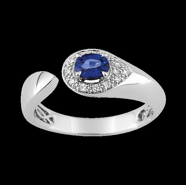 Bague fiancailles prometheus saphir et diamants de joaillerie Lucky One Bijoux