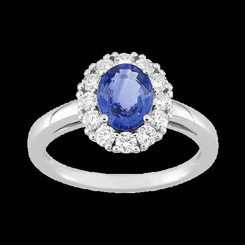 Bague de fiancailles venus sertie de diamants et saphir de Ceylan