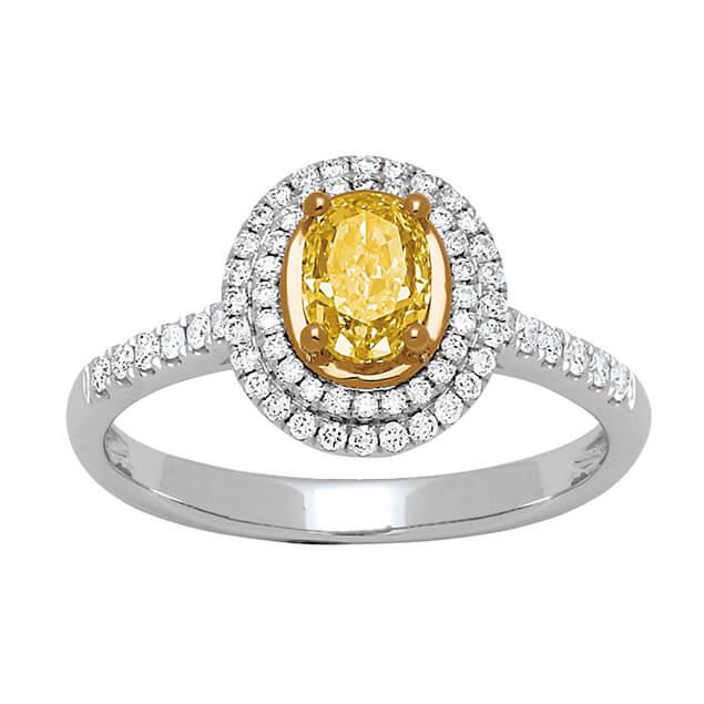 Bague Golden Heart sertie de diamants blanc et jaune