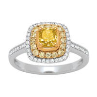 Bague Golden Kiss sertie de diamants blanc et jaune