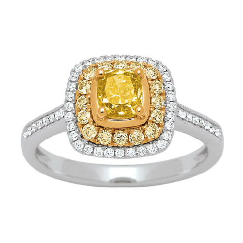 Bague Golden Kiss sertie de diamants blanc et jaune