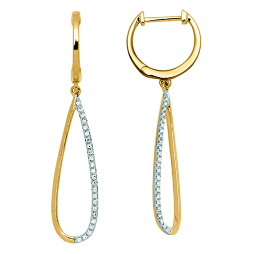 boucles d'oreilles asia or jaune et diamants