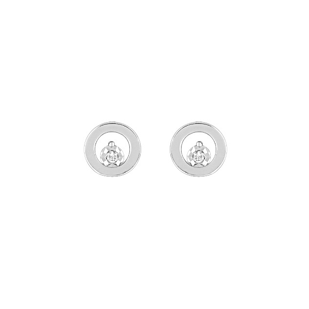 Boucles d'Oreilles Puces Clous Or Blanc Diamants