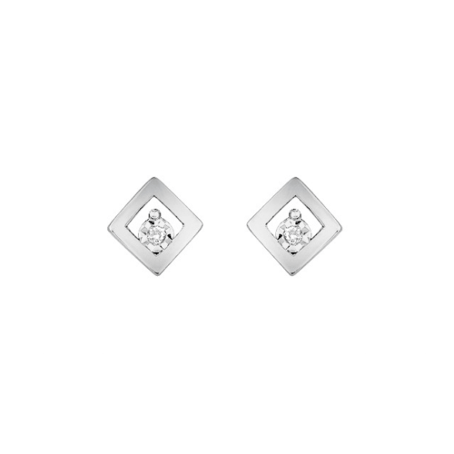 Boucles d'Oreilles Puces Clous Or Blanc Diamants