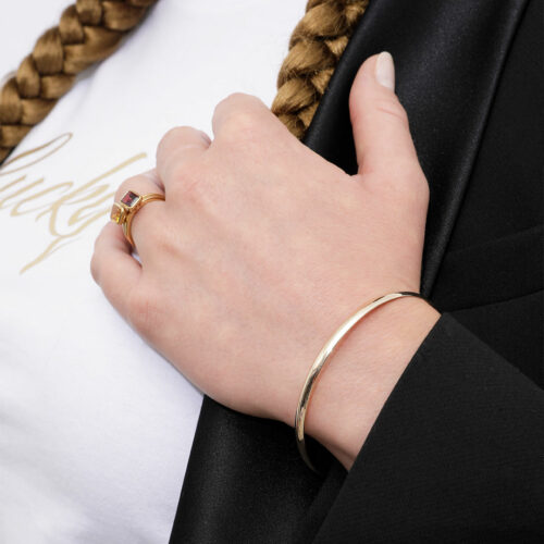 Bracelet Jonc Demi Plat Or Jaune 18 carats