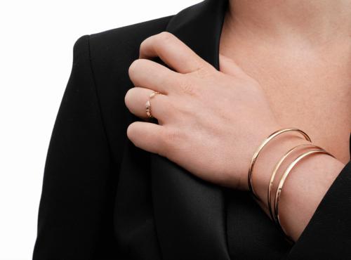 Bracelets Joncs Demi Plat Or Jaune 18k
