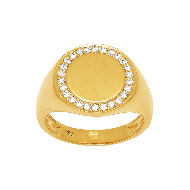 Bague Chevaliere Femme Or Jaune Diamants