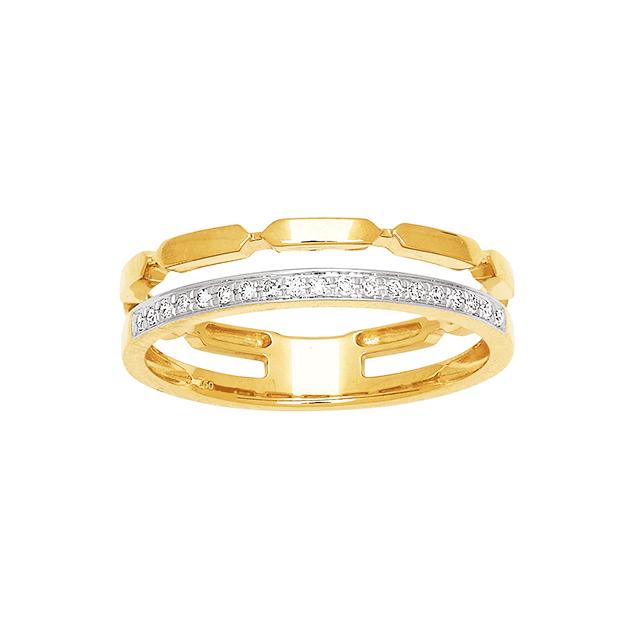 Bague DOuble Anneaux Or Jaune Diamants