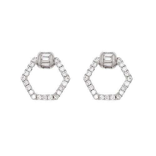 boucles d'oreilles or blanc diamant