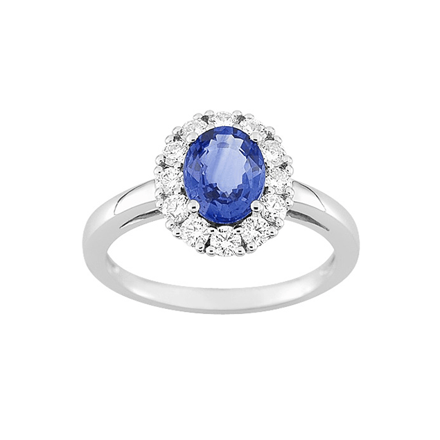 Bague haute joaillerie saphir bleu diamants