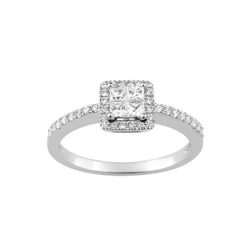 Bague Diamant Princesse Or Blanc