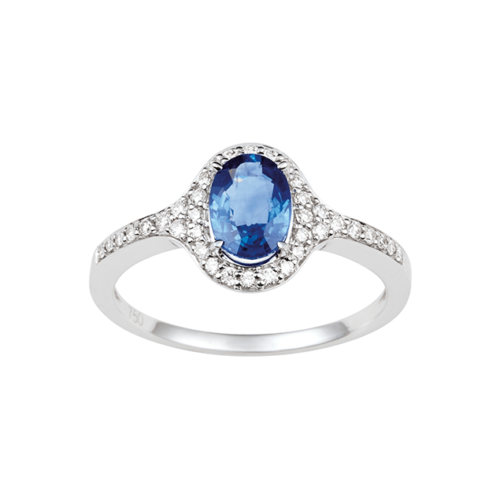 Bague Saphir Bleu de Ceylan Diamants