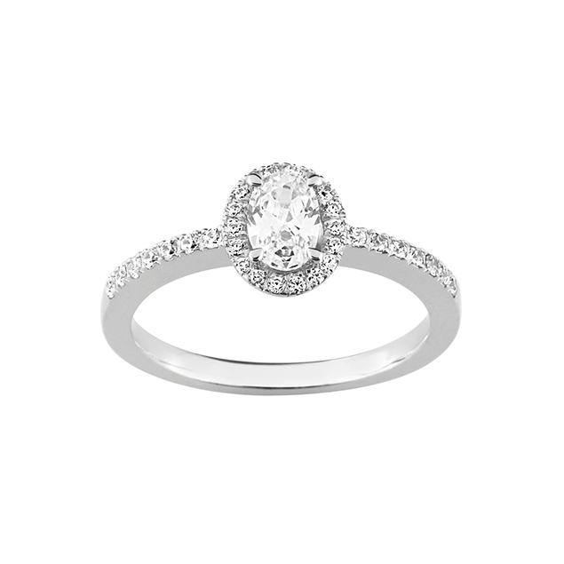 Bague Diamant Ovale Or Blanc