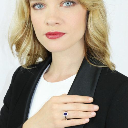 Bague Saphir Bleu Diamant
