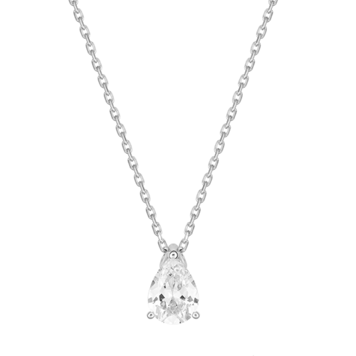 Collier Diamant Poire Or Blanc