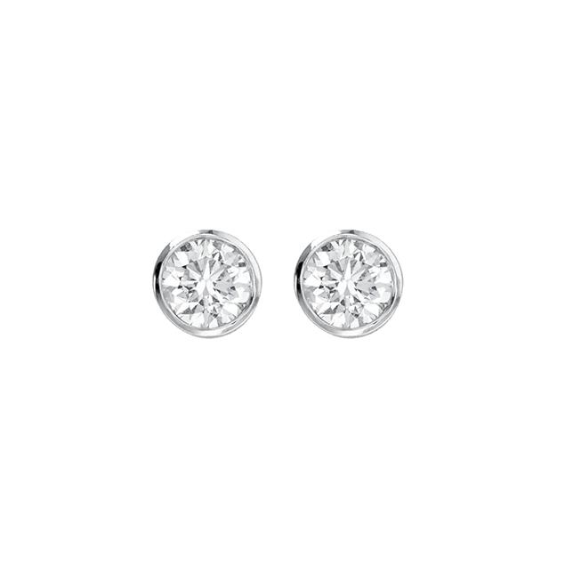 Puces d'Oreilles Diamant Or Blanc 18 Carats