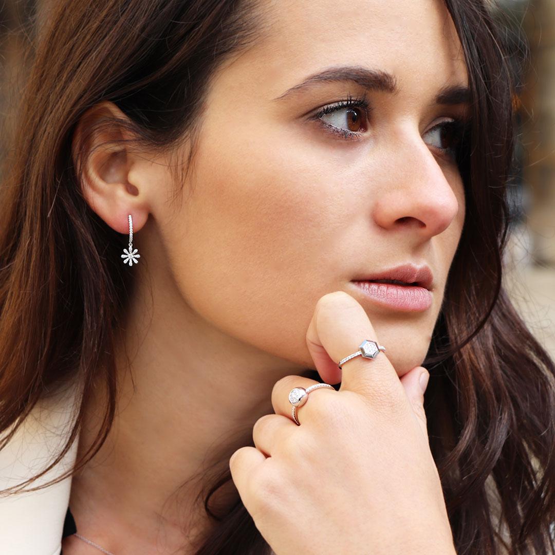 Boucles d'oreilles et bagues or diamants
