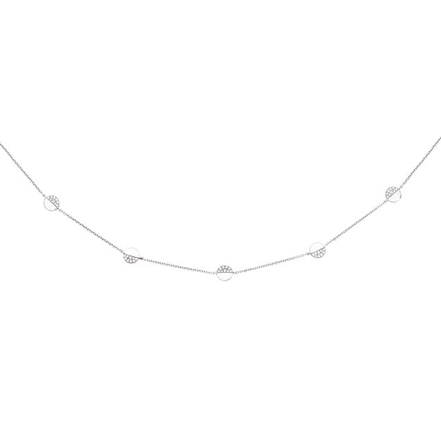 Collier Pastilles Diamant Or Blanc 18 Carats