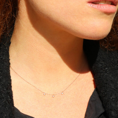Collier Pampilles Or Rose Diamant