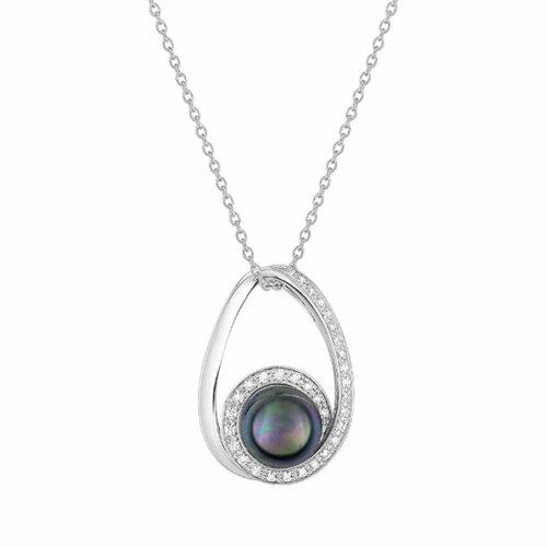 Collier perle diamant