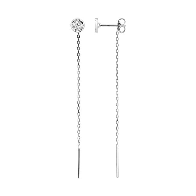 Boucles d'oreilles pendantes or diamant